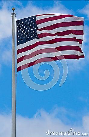 Amerikanska flaggan som blåser i linda
