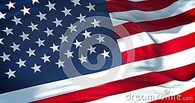 Amerykańska usa flaga z istnym ruchem, gwiazdami i lampasami, zlani stany America, demokratyczny patriotyczny