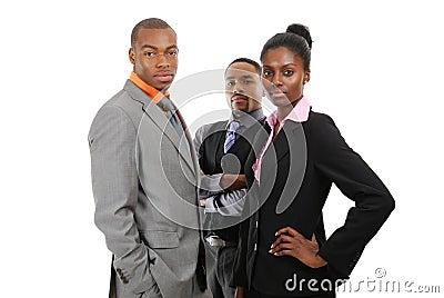Amerykanin afrykańskiego pochodzenia biznesowa pozyci drużyna