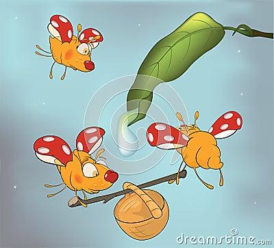 Ladybirds and dew. Cartoon