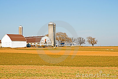 Amish farm barns and silo