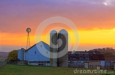 Amish Farm at Sunrise