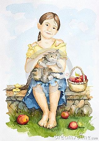 Amizade de uma menina e de um gato