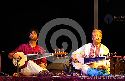 Amjad Ali Khan with his son performs at Bahrain Editorial Image
