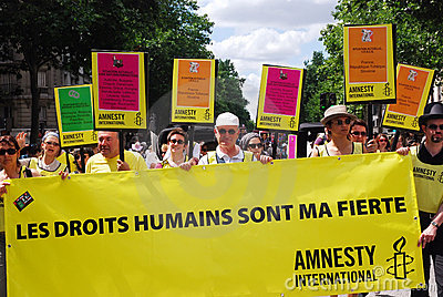 Amnesty International at Paris Gay Pride 2009 Editorial Photo