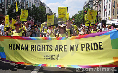 Amnesty International at Paris Gay Pride 2010 Editorial Stock Photo