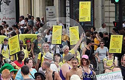 Amnesty International at Paris Gay Pride 2010 Editorial Stock Photo