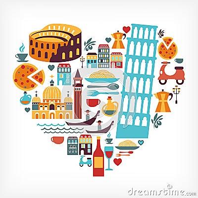 Amor de Italia - dimensión de una variable del corazón con los iconos del vector