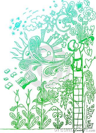 Amor para drenar, doodles incompletos