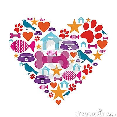 Amor para la colección del icono de los animales domésticos