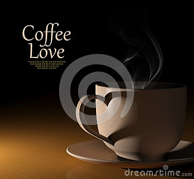 Amore del caffè. Tazza di caffè calda