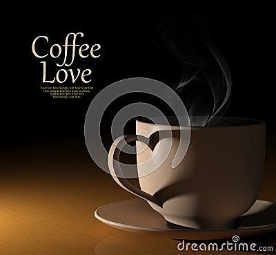 Amour de café. Cuvette de café chaude