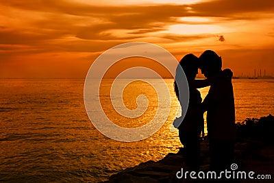 Amoureux de silhouette
