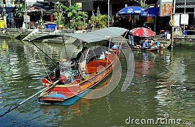 Amphawa, Thailand: Boatman on Canal Editorial Photo