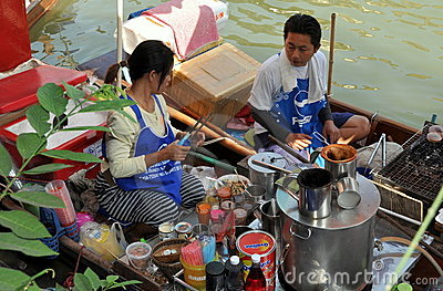 Amphawa, Thailand: Floating Market Food Vendors Editorial Stock Image