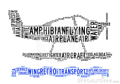 Amphibian plane text clouds