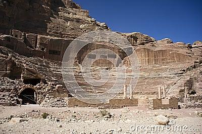 The amphitheater in Petra. Jordan