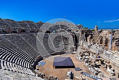 Amphitheater velho no lado, Turquia