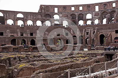 Amphitheatre of the Coliseum in Rome, Italy