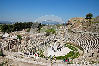 In the amphitheatre of Ephesus