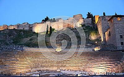 Amphitheatre ruin in Malaga, Spain