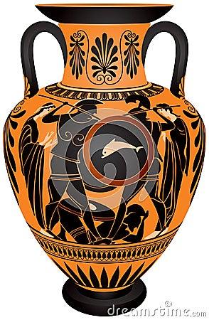 Amphora, batalla antigua del hoplita de Grecia