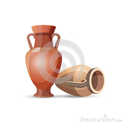Free Amphora Vases Isolated. Clay Jars Egyptian Style Royalty Free Stock Photos - 80942328