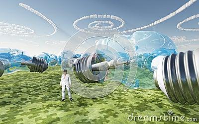 Ampoules et nuages faits face humains de spirale
