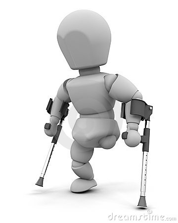 Free Amputee On Crutches Stock Photos - 14891483