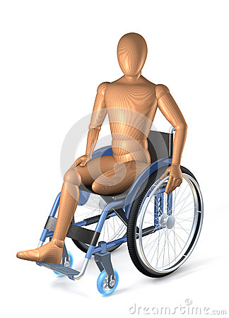 Amputee in wheel chair