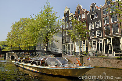Amsterdam canal with boat