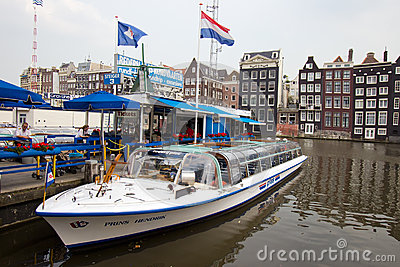 Amsterdam canal boat Editorial Stock Image
