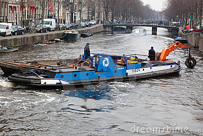 Amsterdam canal dredging Editorial Image