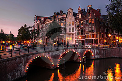 Amsterdam canal at twilight, Netherlands