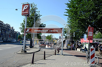 Amsterdam centre parking Editorial Stock Photo