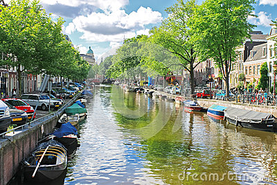 Amsterdam on a clear summer day. Editorial Stock Image