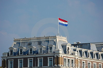Amsterdam with the Dutch flag