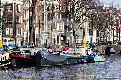 Amsterdam Houseboats Editorial Photo