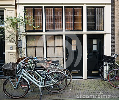 Amsterdam houses with bicycles