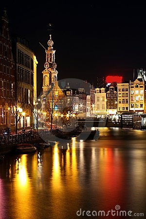 Amsterdam innercity by night in Netherlands