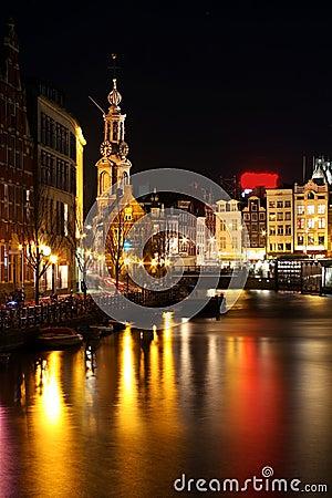 Amsterdam innercity by night in Netherlands