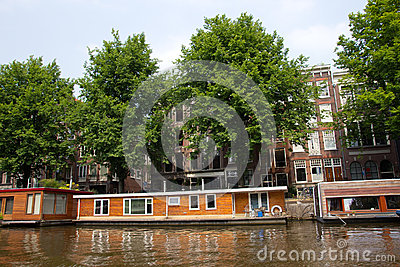 Amsterdam living boat Editorial Stock Image