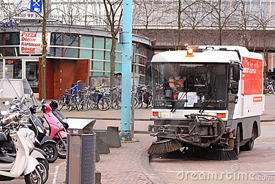 Amsterdam motorised cleaning service Editorial Stock Image