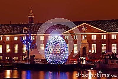 AMSTERDAM, NETHERLANDS - DECEMBER 07 2012: Illuminated Hermitage Editorial Stock Image
