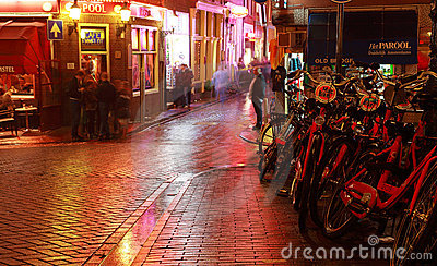 Amsterdam- night scene Editorial Stock Image