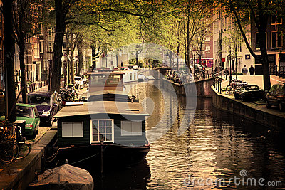 Amsterdam. Romantic canal, boats