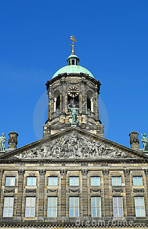 Amsterdam Royal Palace clock tower