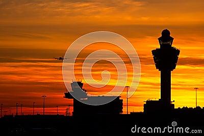 Amsterdam Schiphol airport sunset