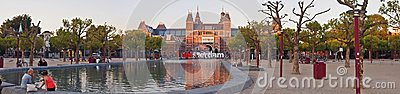 Rijksmuseum at evening. Amsterdam city. September 09, 2012 Editorial Image