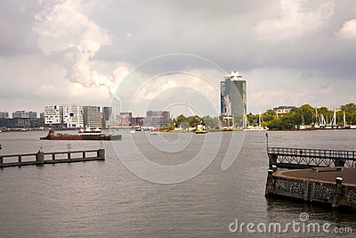Amsterdam Shipping Channel Editorial Stock Image